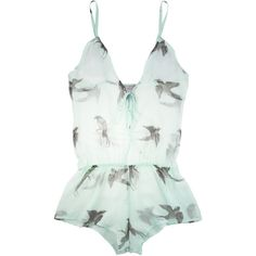 Beautiful Bottoms Antique Bird Drop Back playsuit ($140) ❤ liked on Polyvore featuring intimates, lingerie, tops, underwear, dresses and women