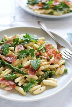 Cavatelli Pasta with Spring Vegetables and Prosciutto / Bev Cooks.
