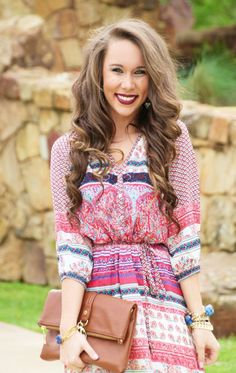 Printed button up dress with a tie belt. (fully lined) Katlyn is wearing a size Small.