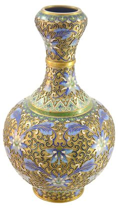 One Kings Lane - Animate Your Space - Blue Cloisonné Vase