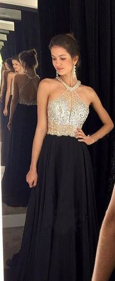 382acce9a3b Charming Halter Neck Crystal Beaded Prom Dress