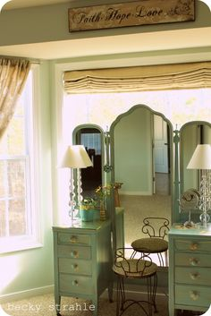 I have a similar vanity at my parents'. Now I need to steal it and paint it teal.    The rest of the pics of the home are gorgeous too!