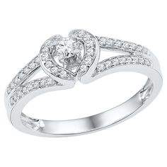 1/4 CT. T.W. Round Diamond Prong Set Anniversary Ring in 10K White Gold