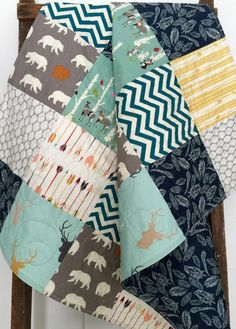 Baby Quilt Bear Hike Bow and Arrow Feathers Fletching by CoolSpool