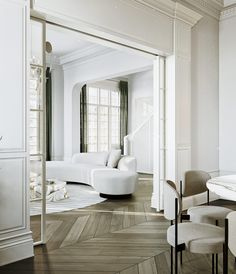 3 Ultra-Modern Takes on Neoclassical Interior Inspiration www.home-designin… - Add Modern To Your Life Modern Classic Interior, Interior Design Minimalist, Home Modern, Interior Design Living Room, Interior Livingroom, Neoclassical Interior Design, Luxury Home Decor, Interior Design Inspiration, Interior Architecture