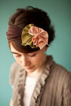 Stretch CHOCOLATE Rose Rosette - Garlands of Grace hair wrap headband headcovering