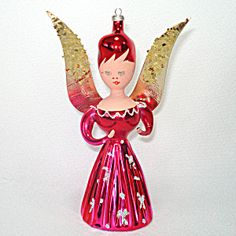 Italy Blown Glass Pink Angel Christmas Ornament Antique Christmas Ornaments, Christmas Angels, Glitter Stars, Silver Glitter, Blown Glass, Snowflakes, Hot Pink, Wings, Italy