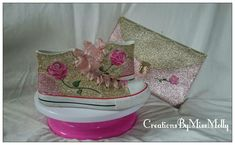 Excited to share the latest addition to my #etsy shop: Beauty and the Beast inspired converse style shoes/ bag/ Wedding converse/ Customised converse/ Glitter converse http://etsy.me/2CIM4Tk