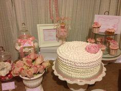 Ruffled cake at a Pink Ballerina Party #pinkparty #ruffles