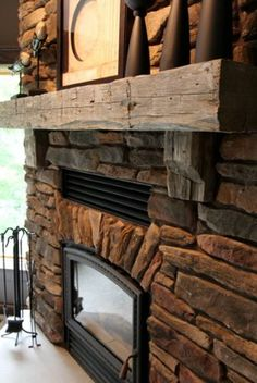 2011 Parade Home fireplace w/ railroad tie mantle