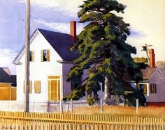 Edward Hopper, House with Big Pine, watercolor, 1935. Hopper's journals record this painting as having been of a house in Eastham on Cape Cod.