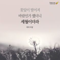 꽃잎이 떨어져 바람인가 했더니 세월이더라 ▶한국콘텐츠진흥원 ▶KOCCA ▶Korean Content ▶KoreanContent ▶KORMORE Wise Quotes, Famous Quotes, Words Quotes, Inspirational Quotes, Sayings, Korean Quotes, Memorial Poems, Typography, Lettering