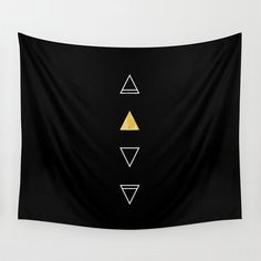 Black and Gold Wall Tapestry Geometric Triangles Earth Wind Fire Air 4 Elements Modern Tribal Luxe Bohemian Faux Gold Foil (55.00 USD) by SaudadePrints