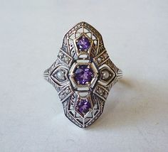 Beautiful Natural Amethyst & Seed Pearl Victorian Style Ring in Sterling Silver Size 6 // Edwardian Art Nouveau Deco Semiprecious Gemstone