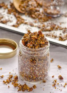 Coconut Quinoa and Chia Granola - roasted, crunchy & low in sugar granola that is delicious in yogurt, cereal or as a snack.
