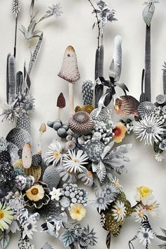 Anne Ten Donkelaar creates flower constructions with pressed flowers and paper cutouts.