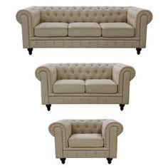 Sofa Bed Design, Living Room Sofa Design, 3 Piece Living Room Set, Living Room Sets, Furniture Sofa Set, Living Room Furniture, Furniture Decor, Fabric Chesterfield Sofa, Tufted Sofa