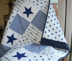Baby blanket baby boy quilt patchwork with blue gingham navy felt stars and vehicles. Description from pinterest.com. I searched for this on bing.com/images
