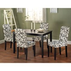 @Overstock.com - Sophia 5-piece Parson Dining Set - Update your dining room with this 5-piece dining set. The chairs have a modern swirl pattern offset by contrasting upholstery that catches the eye. They perfectly complement the rubber wood table, which is hardy enough to withstand years of use.   http://www.overstock.com/Home-Garden/Sophia-5-piece-Parson-Dining-Set/6710482/product.html?CID=214117 $323.99