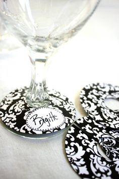 EDITABLE Printable Paper Bold Damask Wine Glass by ThePoshEvent