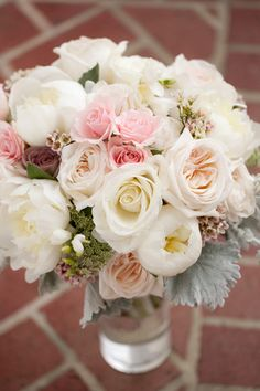 Pastel pink and white bridal bouquet (Photo by Julie Napear Photography)