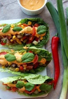 "This savory dinner recipe creates cute, healthy, raw, vegan tacos that use fresh romaine lettuce as the taco shells with a variety of fresh, raw vegetables as the taco stuffing and then adds a deliciously healthy ""nacho cheese"" dressing on top. Enjoy!"