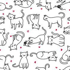 Kitties with Hearts fabric by sheena_hisiro on Spoonflower - custom fabric