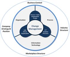 The intersection of the Organization, Business Processes and Technology affected by both internal and external factors creates a unique Change Management solution for each individual organization.