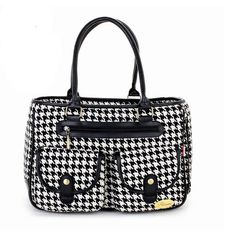 Black White Houndstooth Portable Female Pet Travel Carrier Bag *** Want to know more, click on the image.