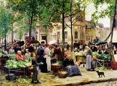 """""""The Square in Front of Les Halles, 1880"""" by Victor Gabriel Gilbert (1847 - 1935). #figurepainting #arthistory #shoppinginart #marketday #everydaylife #Victorianlife #Victoriansociety #Victoriantrends"""