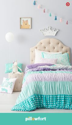 Pillowfort's Grand Getaway collection totally takes the crown, because little ones love a little luxury, too. Your kiddo's loyal subjects can range from a cute unicorn pillow to a floral bear wall mount, and the colorful, mix-and-match bedding and crown marquee light is as palatially cute as it can get.