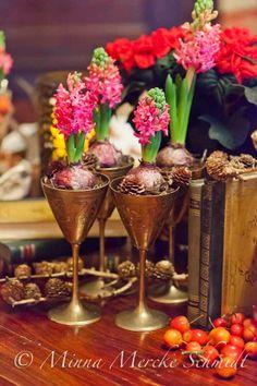 Hyacinths in wine glasses | by blomsterverkstad | minna mercke schmidt