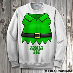 Funny Angry Elf Suit Christmas Sweater - Funny Ugly Christmas Crewneck/Hoodie Sweater Merry Xmas Santa Elf Shirt RO169 $34.99