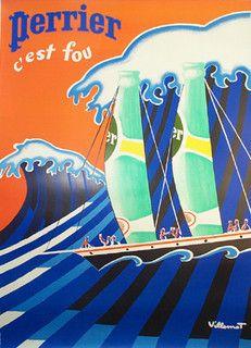Perrier C'est Fou La Vague, Bernard Villemot - 1970