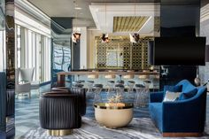 """Hotel Indigo DTLA: """"Playing with scale in the lobby bar makes a variety of circular shapes work for both seating and a table. Luxury Home Decor, Luxury Homes, Hba Design, Modern Hotel Room, Farmhouse Stools, Hotel Indigo, Art Deco Buildings, Custom Sofa, Hotel Interiors"""
