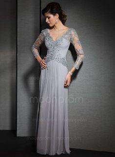Mother of the Bride Dresses - $162.01 - A-Line/Princess V-neck Floor-Length Chiffon Tulle Mother of the Bride Dress With Ruffle Lace (0085056688)