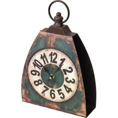"Manual Weavers 13"" Green Kettle Bell Decorative Table Top Clock Clocks"