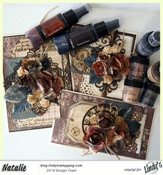 Hey there crafty people! Natalie here again andI am sharinga set of cardsI created usingLindys Stamp Gang Spraysfrom the OctoberColor Challenge set and some beautiful Embossing Powder. I lo…