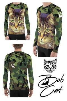 we love cats and have cool cat wear cat catmo cat camo I Love Cats, Cool Cats, Bobcat Pictures, Cat Entertainment, How To Cat, Nine Lives, Rash Guard, Designer Wear, Military Jacket
