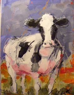 Cow painting study 'Friese Holsteiner', acrylic paint and crayon on paper! Included a few details so you can see the messy looseness techn...