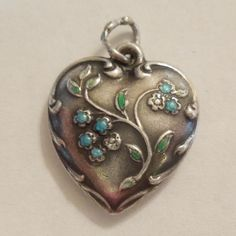 Sterling Silver Puffy Heart Charm - Spray of Enameled Forget-Me-Not Flowers