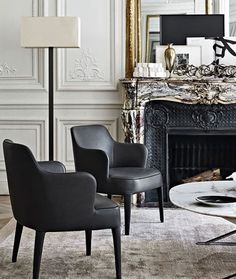 CONTEMPORARY CHAIRS | black leather armchairs suit just perfectly any modern decor | www.bocadolobo.com/ #luxuryfurniture #designfurniture #LeatherSofawhite
