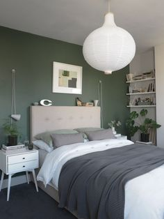 Before and After: the results of my simple, botanical green bedroom makeover – creating a soothing, quiet sanctuary designed around wellbeing Green And White Bedroom, Green Bedroom Walls, Green Bedroom Decor, Best Bedroom Colors, Green Rooms, Room Ideas Bedroom, Home Decor Bedroom, Green Master Bedroom, Sage Bedroom