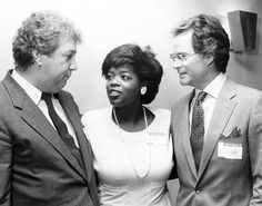"""Once upon a time ... Oprah Winfrey joins Roger King, left, chairman of the board of King World, and Joseph Ahern, right, former general manager of WLS-TV, at a news conference in Chicago in July 24, 1985 when it was announced that """"The Oprah Winfrey Show"""" would be syndicated nation-wide beginning in September 1986."""