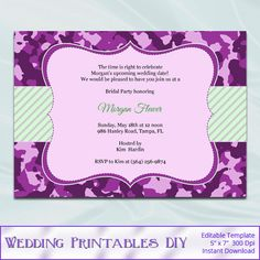 Camo Bridal Shower Invitations