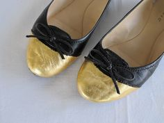 Gold leaf scuffed shoes
