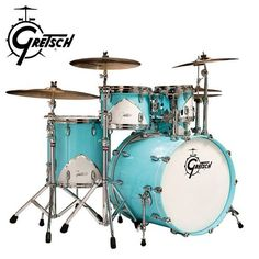 """Gretsch Renown 57 5pc Shell Pack by Gretsch. $2599.00. Gretsch shatters conventional drum design with the Renown57 in Motor City Blue. Inspired by the great American car companies from the 1950's, the Renown57 incorporates timeless, iconic car design elements and applies them to drums. The """"hood ornament"""" is the Renown chevron, an aluminum triangular teardrop painted white with raised beveled chrome edges and embossed chrome Gretsch logo. Matching Gibraltar throne is inclu..."""