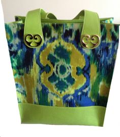 Perfect summer mix... gren ikat and genuine leather ... MaryAnn-Lou bags