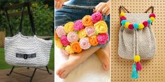 22 free crochet patterns for purses, totes and bags.