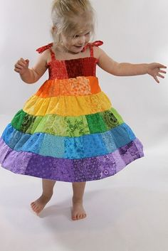 I want to make this for me...hahaha...Rainbow Toddler Dress by Pecan_Sandies, via Flickr great-ideas-craft-projects